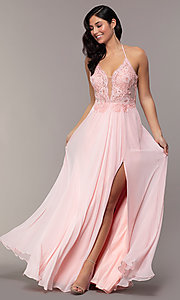 Image of long chiffon corset prom dress with sheer bodice. Style: FA-S10228 Front Image