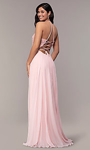 Image of long chiffon corset prom dress with sheer bodice. Style: FA-S10228 Back Image