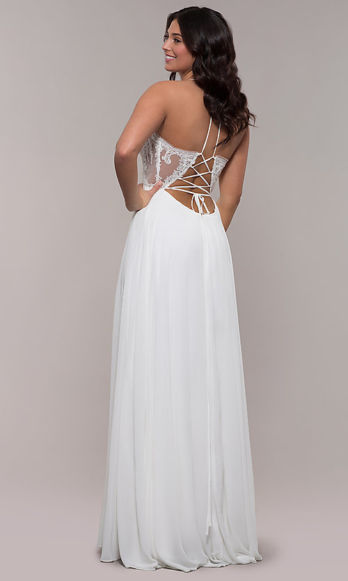 Image of long chiffon corset prom dress with sheer bodice. Style: FA-S10228 Detail Image 2