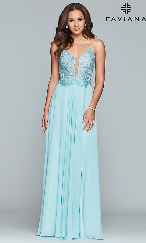 Image of long chiffon corset prom dress with sheer bodice. Style: FA-S10228 Detail Image 7