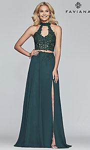 Image of long two-piece Faviana prom dress with embroidery. Style: FA-S10220 Detail Image 6