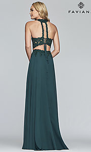 Image of long two-piece Faviana prom dress with embroidery. Style: FA-S10220 Detail Image 7