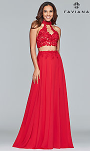 Image of long two-piece Faviana prom dress with embroidery. Style: FA-S10220 Front Image