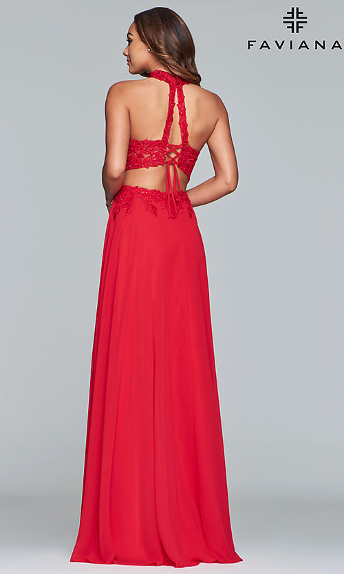 Image of long two-piece Faviana prom dress with embroidery. Style: FA-S10220 Back Image