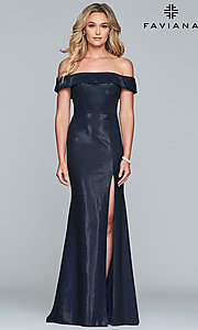 Image of metallic off-the-shoulder prom dress by Faviana. Style: FA-S10216 Detail Image 3