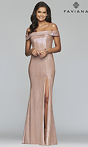 Image of metallic off-the-shoulder prom dress by Faviana. Style: FA-S10216 Detail Image 4