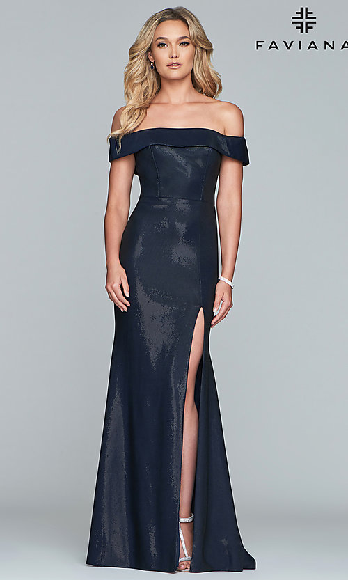 Image of metallic off-the-shoulder prom dress by Faviana. Style: FA-S10216 Front Image