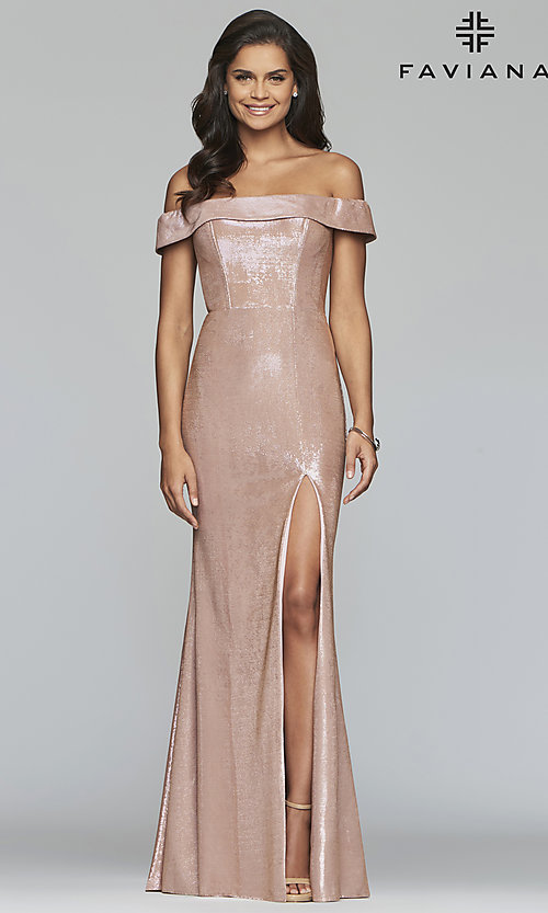 Image of metallic off-the-shoulder prom dress by Faviana. Style: FA-S10216 Detail Image 8
