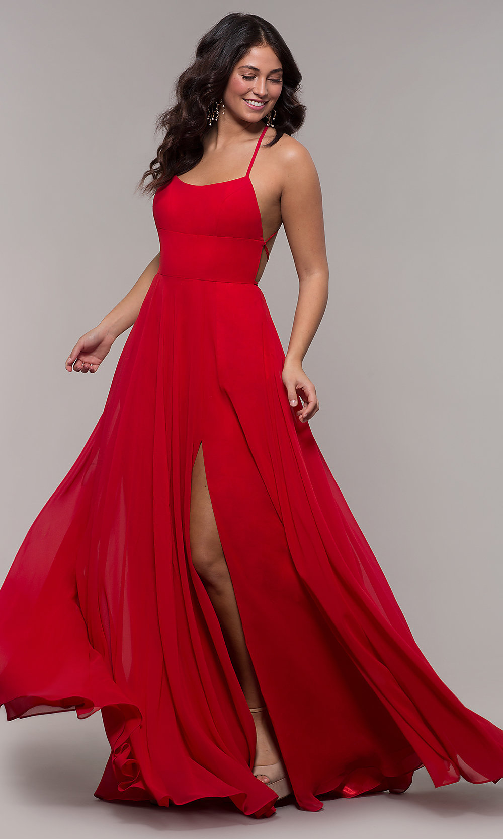 A-Line Long Straight-Neck Prom Dress - PromGirl Red Dresses Om