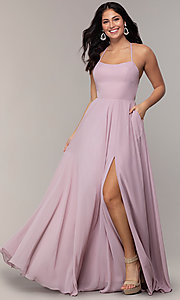 Image of long a-line straight-neck Faviana prom dress. Style: FA-S10233 Detail Image 3