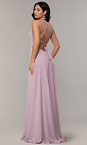 Image of long a-line straight-neck Faviana prom dress. Style: FA-S10233 Detail Image 4