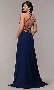 Image of long a-line straight-neck Faviana prom dress. Style: FA-S10233 Detail Image 6