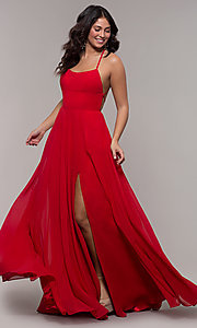 Image of long a-line straight-neck Faviana prom dress. Style: FA-S10233 Front Image