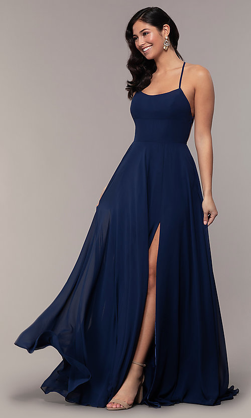 A-Line Long Straight-Neck Prom Dress - PromGirl