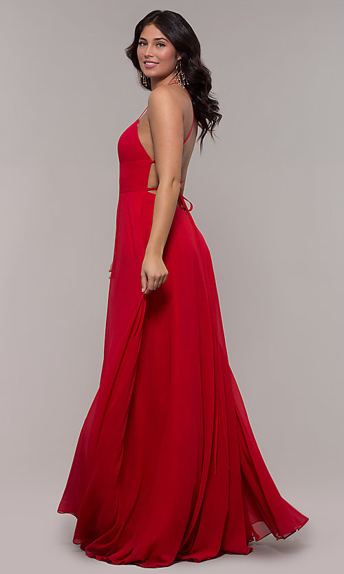 Image of long a-line straight-neck Faviana prom dress. Style: FA-S10233 Back Image