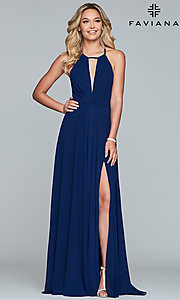 Image of long high-neck chiffon prom dress with bow. Style: FA-S10235 Front Image