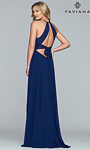 Image of long high-neck chiffon prom dress with bow. Style: FA-S10235 Back Image