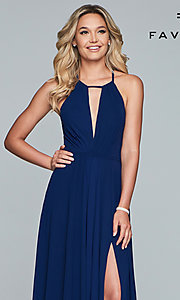 Image of long high-neck chiffon prom dress with bow. Style: FA-S10235 Detail Image 1