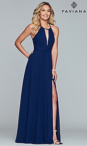 Image of long high-neck chiffon prom dress with bow. Style: FA-S10235 Detail Image 3