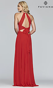 Image of long high-neck chiffon prom dress with bow. Style: FA-S10235 Detail Image 5
