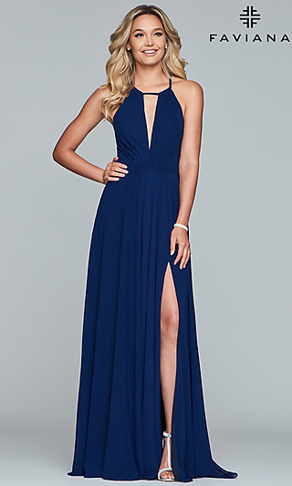 Long High-Neck Prom Dress with a Bow 36e2a0ce35ba
