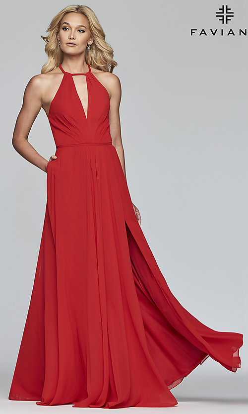 Image of long high-neck chiffon prom dress with bow. Style: FA-S10235 Detail Image 8