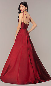 Image of a-line v-neck sleeveless prom dress with pockets. Style: FA-S10249 Detail Image 5