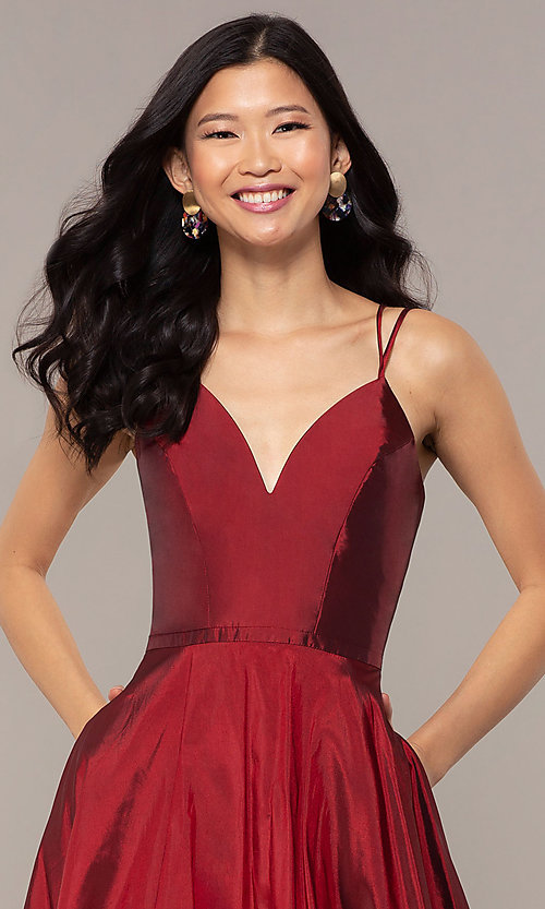 Image of a-line v-neck sleeveless prom dress with pockets. Style: FA-S10249 Detail Image 6