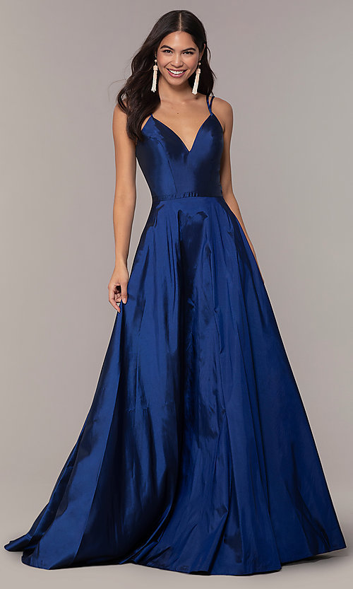Image of a-line v-neck sleeveless prom dress with pockets. Style: FA-S10249 Front Image