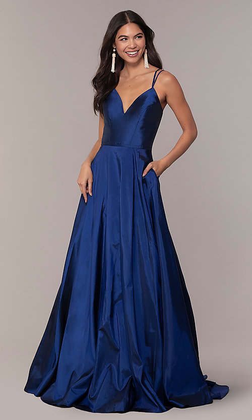 Image of a-line v-neck sleeveless prom dress with pockets. Style: FA-S10249 Detail Image 3