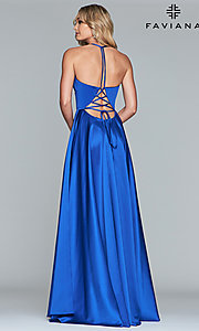 Image of long Faviana satin a-line prom dress. Style: FA-S10252 Detail Image 5