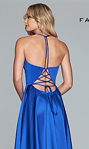 Image of long Faviana satin a-line prom dress. Style: FA-S10252 Detail Image 7