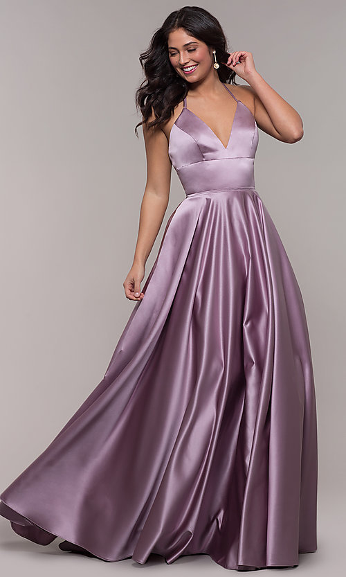 Image of long Faviana satin a-line prom dress. Style: FA-S10252 Front Image