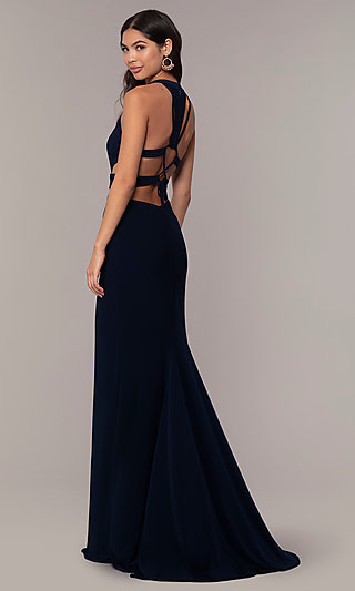 Long Jersey Prom Dress with Side Cut-Outs