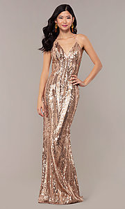 Image of rose gold sequin Faviana long formal prom dress. Style: FA-ES10112 Front Image