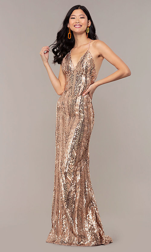 Image of rose gold sequin Faviana long formal prom dress. Style: FA-ES10112 Detail Image 3
