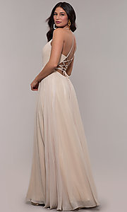 Image of long glitter v-neck prom dress with lace-up back. Style: FA-10264 Detail Image 5