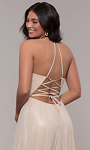Image of long glitter v-neck prom dress with lace-up back. Style: FA-10264 Detail Image 7
