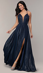 Image of long glitter v-neck prom dress with lace-up back. Style: FA-10264 Front Image