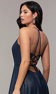 Image of long glitter v-neck prom dress with lace-up back. Style: FA-10264 Detail Image 2