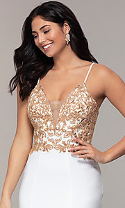 Image of Faviana long ivory prom dress with rose gold beads. Style: FA-S10269 Detail Image 1