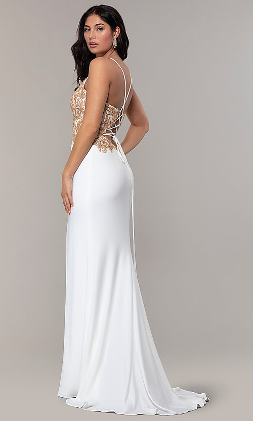 Image of Faviana long ivory prom dress with rose gold beads. Style: FA-S10269 Back Image