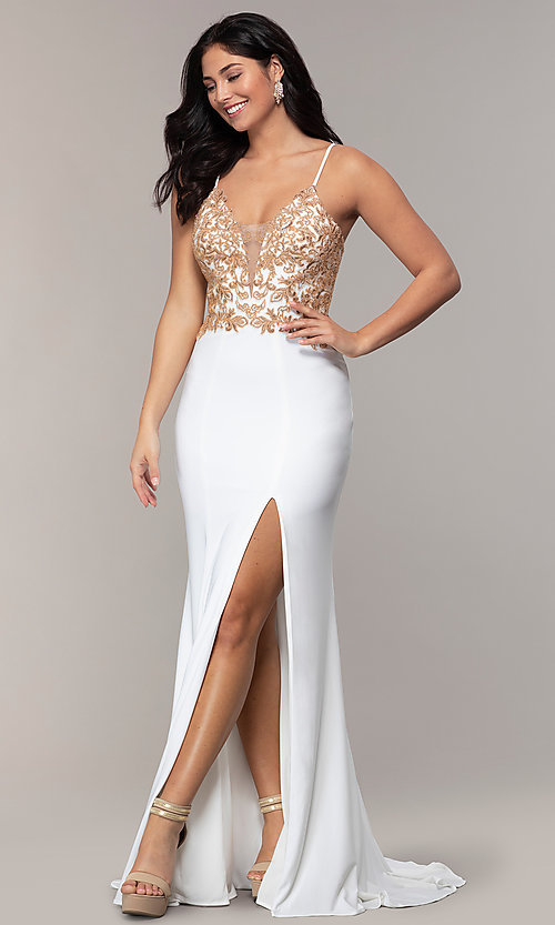 Image of Faviana long ivory prom dress with rose gold beads. Style: FA-S10269 Detail Image 3