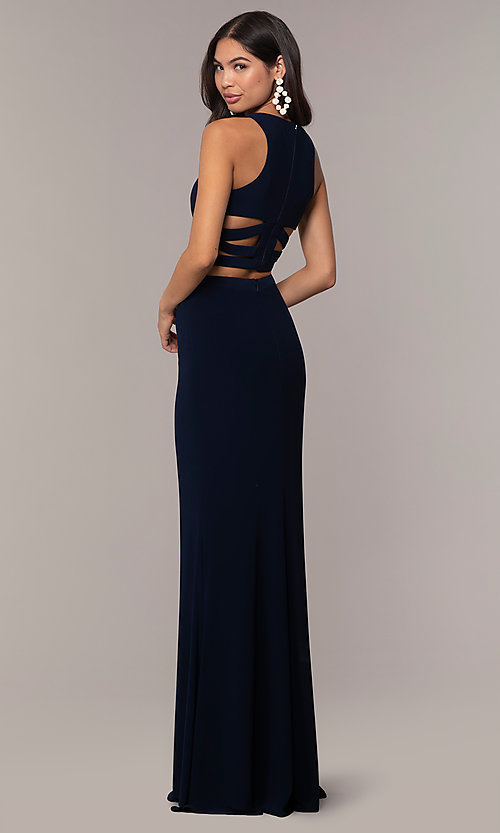 Image of long two-piece blue prom dress with cut outs. Style: FA-10206 Back Image