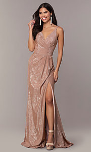 Image of long metallic designer prom dress by Faviana. Style: FA-10257 Detail Image 3