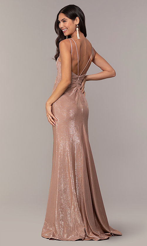 Image of long metallic designer prom dress by Faviana. Style: FA-10257 Back Image