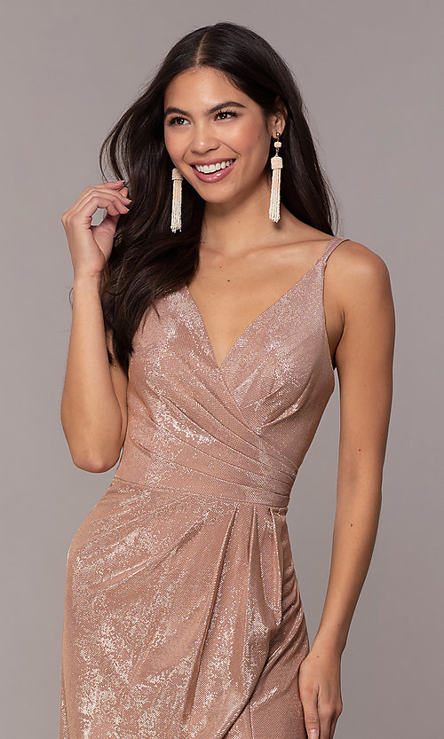 Image of long metallic designer prom dress by Faviana. Style: FA-10257 Detail Image 1