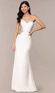 Image of strapless sweetheart ivory white long prom dress. Style: FA-S10304 Detail Image 3