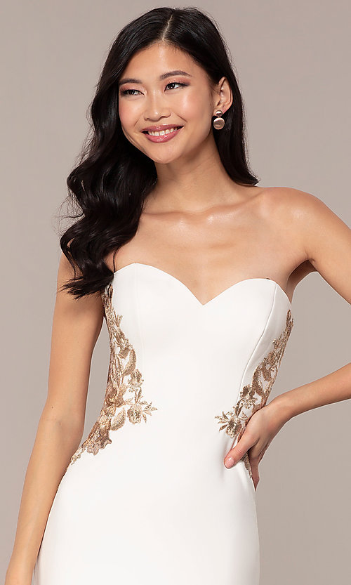 Image of strapless sweetheart ivory white long prom dress. Style: FA-S10304 Detail Image 1
