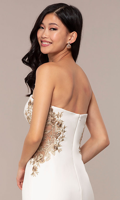 Image of strapless sweetheart ivory white long prom dress. Style: FA-S10304 Detail Image 2